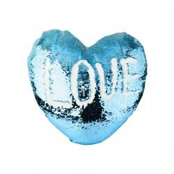 Heart Shaped Sequin Pillow Cover (Light Blue w/ White) (BZLP3944HLB-W)