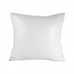 Flip Sequin Double-Sided Pillow Cover (White/Silver) (BZLP4040W)