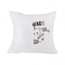 Flip Sequin Double-Sided Pillow Cover (White/White) (BZLP4040W-WL)