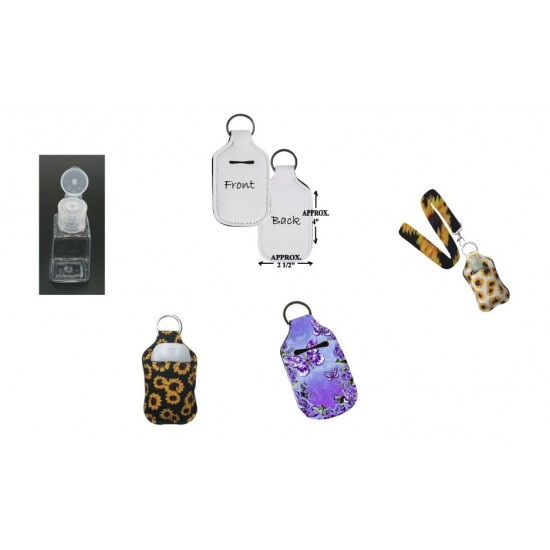 SUBLIMATION101 Hand Sanitizer Key Chain Holder w/ Bottle  10 per pack $19.99 (Lanyard Sold Separately) (XSYH-B )
