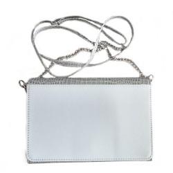 P/U LEATHER EEL SKIN  PURSE BAG (w/ Adjustable Matching & Removable Shoulder Strap) (SILVER)