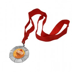 """2.5"""" Round Silver Medal With Ribbon (WZ32S)"""