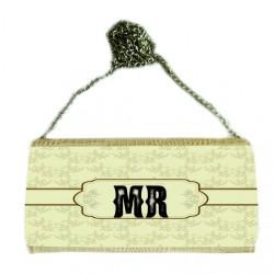 P/U LEATHER EEL SKIN CLUTCH BAG (w/ Removable Chain Strap) (BEIGE)
