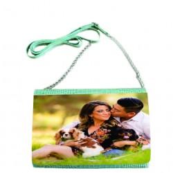 P/U LEATHER EEL SKIN PURSE BAG (w/ Adjustable Matching & Removable Shoulder Strap) (LIGHT GREEN)