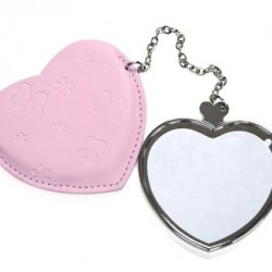 Heart Hand Compact Mirror with Leather Case Color Pink leather case  JB17