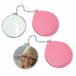 Round Makeup Compact  Mirror with Leather Case Color:Pink leather case JB18 (