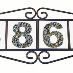 "Metal House Number Hangers  for (4) 4 ¼"" tiles"