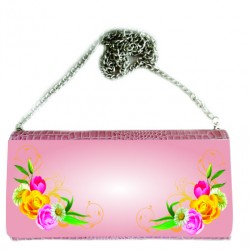 P/U LEATHER EEL SKIN CLUTCH BAG (w/ Removable Chain Strap) (PINK)
