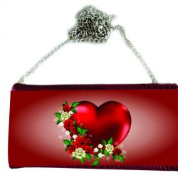 P/U LEATHER EEL SKIN CLUTCH BAG (w/ Removable Chain Strap) (RED)