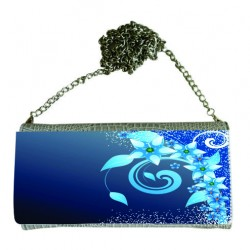 P/U LEATHER EEL SKIN CLUTCH BAG (w/ Removable Chain Strap) (SILVER)