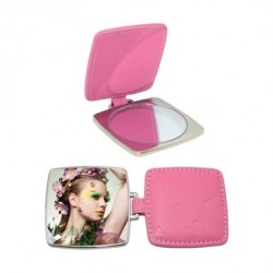 Square Hand Compact  Mirror with Leather Case Color Pink leather case JB19